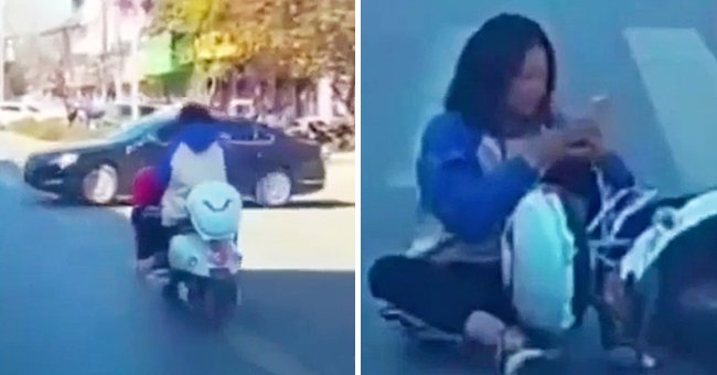 Woman Crashes into Car While Texting on a Motorbike but Continues Texting