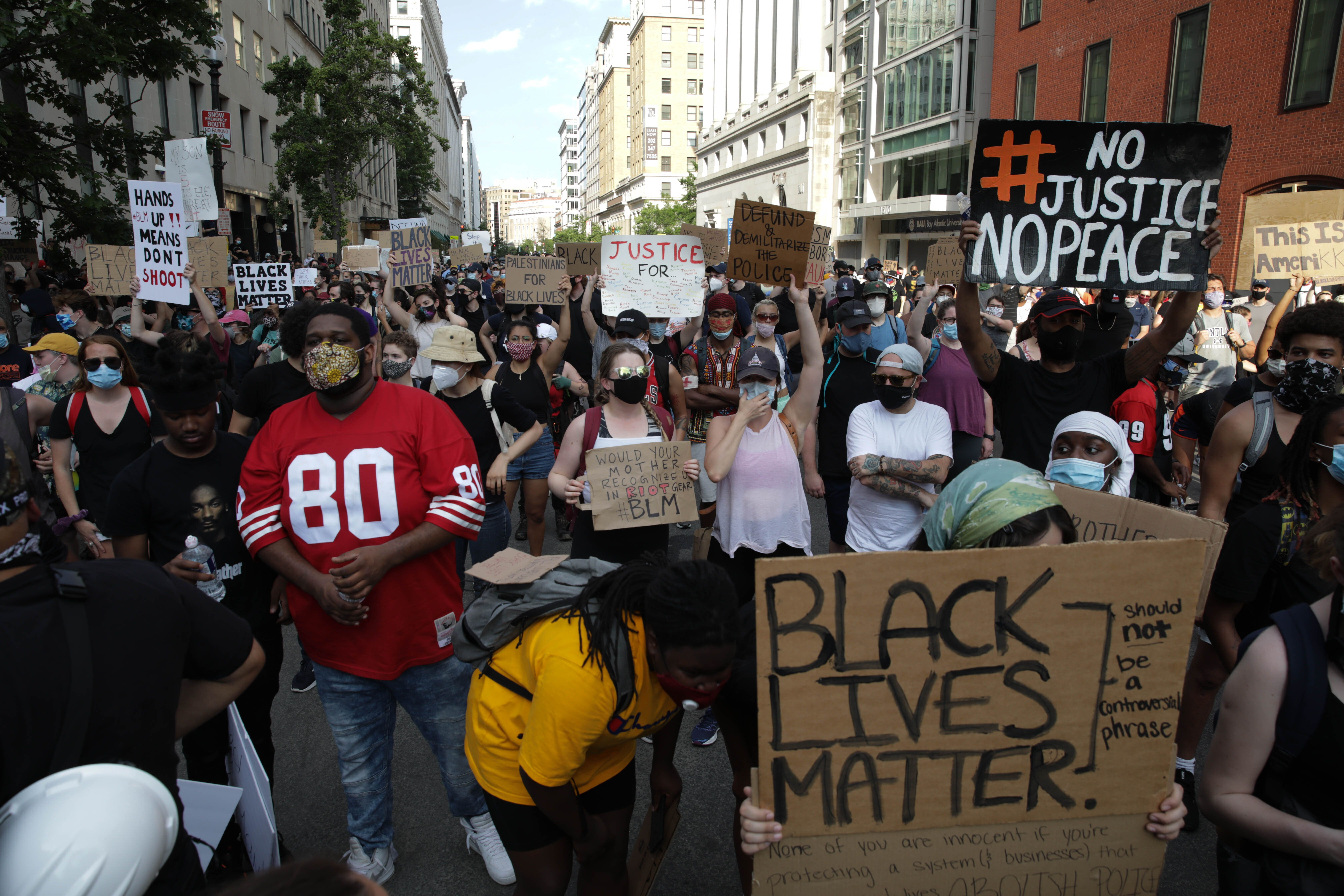 Protests over the death of George Floyd on the sixth consecutive day in Washington, DC, United States on June 3, 2020. | Source: Getty Images