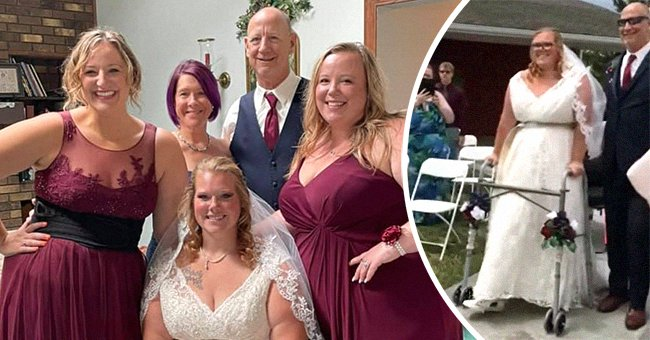 Brittney Bedwell on her wedding day with her bridesmaids and her father   Photo: Facebook.com/ashleysieb  + Facebook.com/brittney.bedwell.5