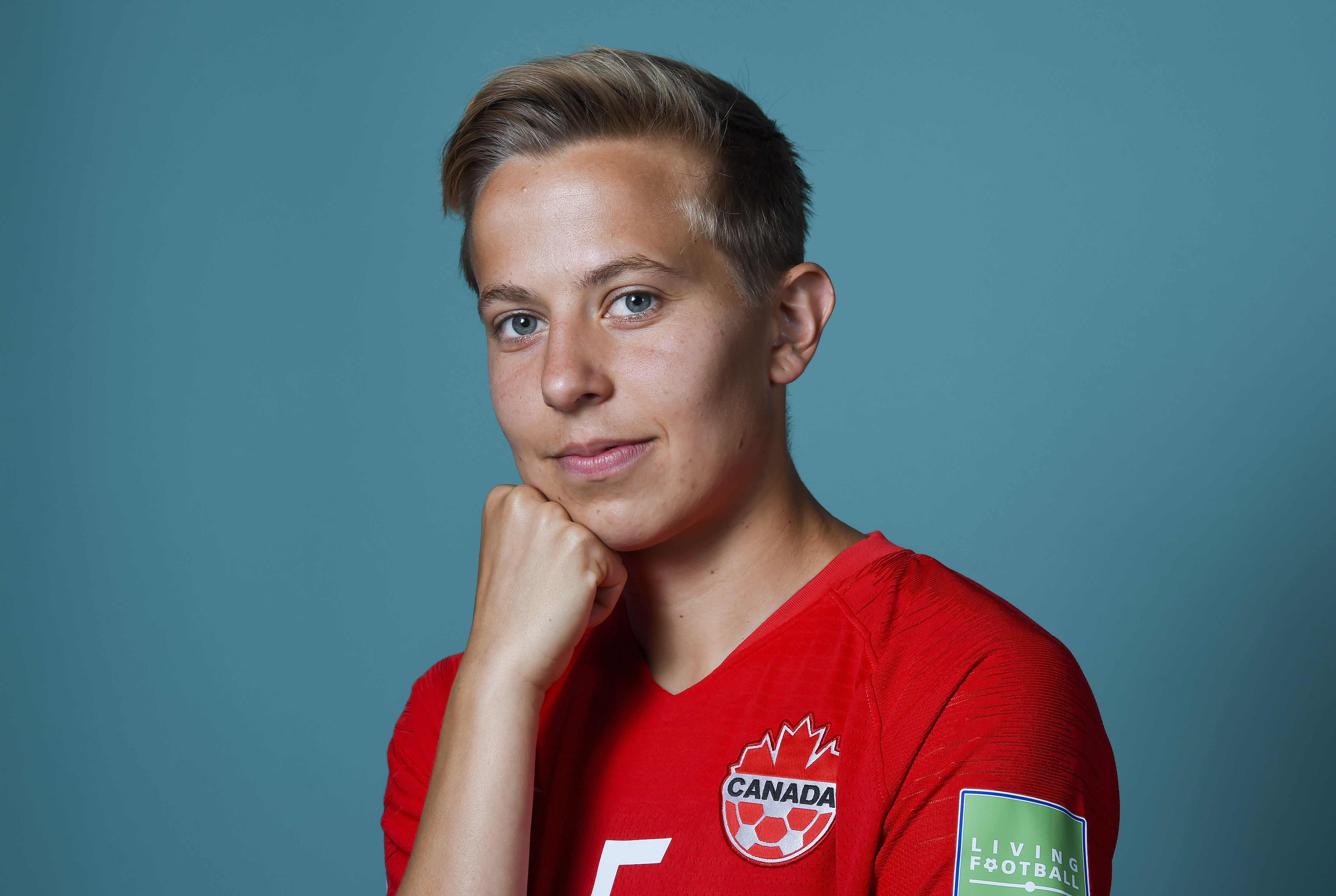 Rebecca Quinn of Canada poses for a portrait during the official FIFA Women's World Cup 2019 portrait session at Courtyard by Marriott Montpellier on June 07, 2019, in Montpellier, France. | Source: Getty Images.