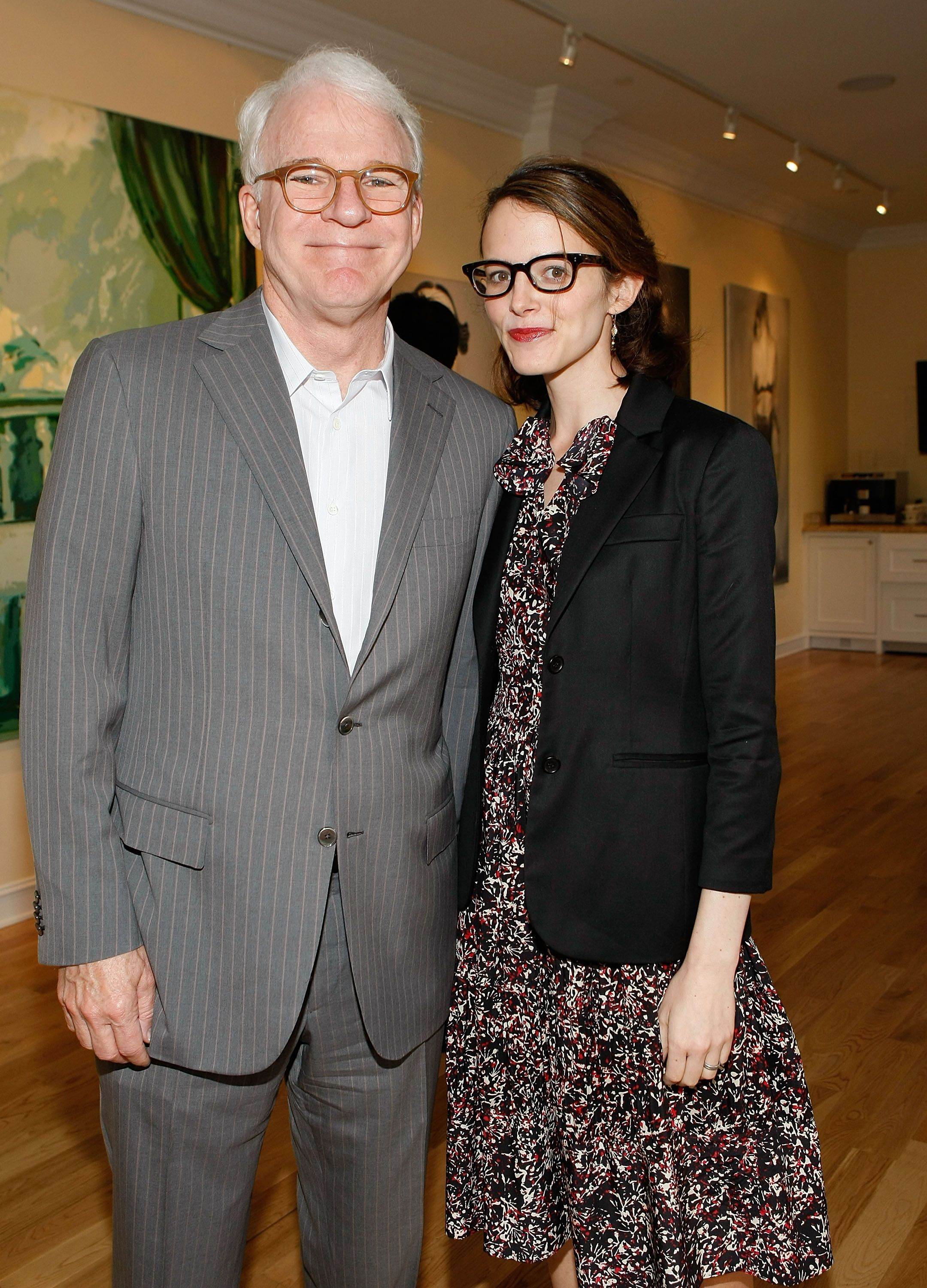 """Actor and musician Steve Martin and wife Anne Stringfield at the presentation of """"Wounded"""" curated by Carole Bayer Sager at LA Art House on May 6, 2009 