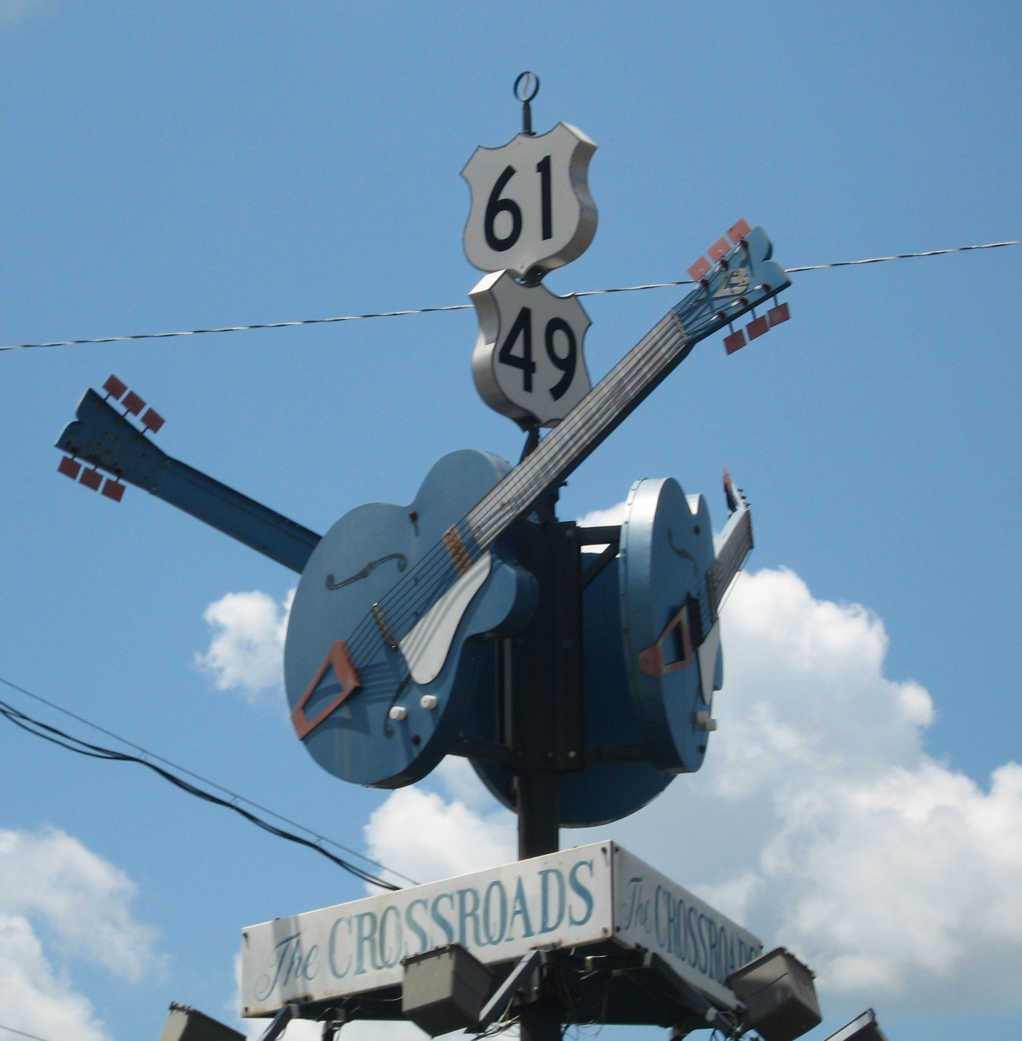 """""""The Crossroads"""", where Robert Johnson supposedly sold his soul to the Devil at Clarksdale, Mississippi   Photo: Joe Mazzola, ClarksdaleMS Crossroads, CC BY-SA 2.0"""