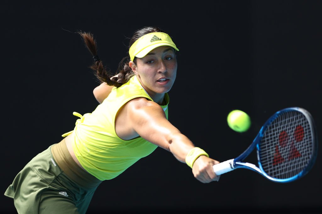 Jessica Pegula of the United States plays a backhand in her Women's Singles fourth round match against Elina Svitolina of Ukraine during the 2021 Australian Open | Photo: Getty Images