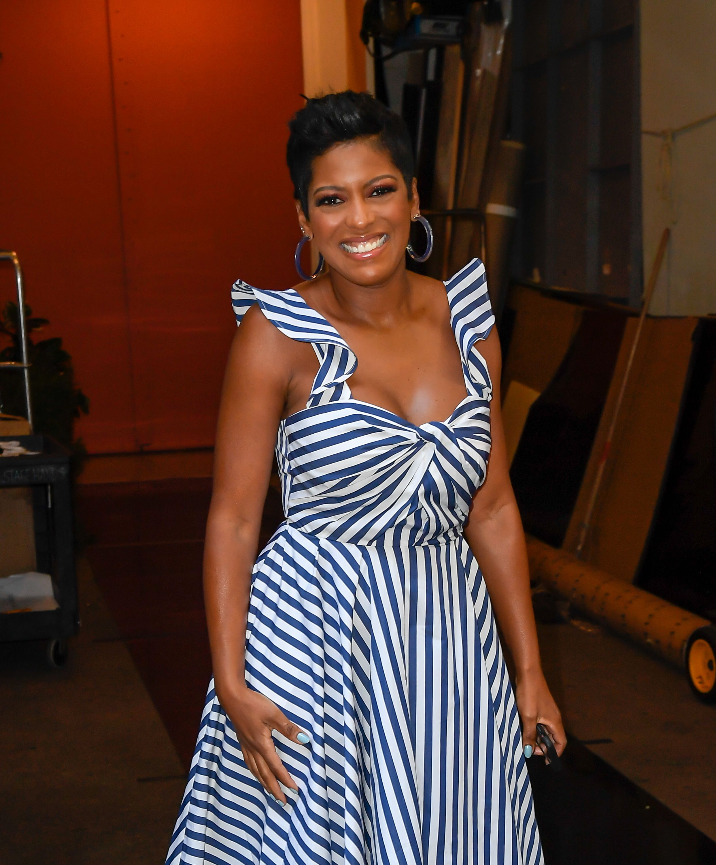 "Tamron Hall is seen on the set of ""Live with Kelly and Ryan"" on July 29, 2019 in New York City. 