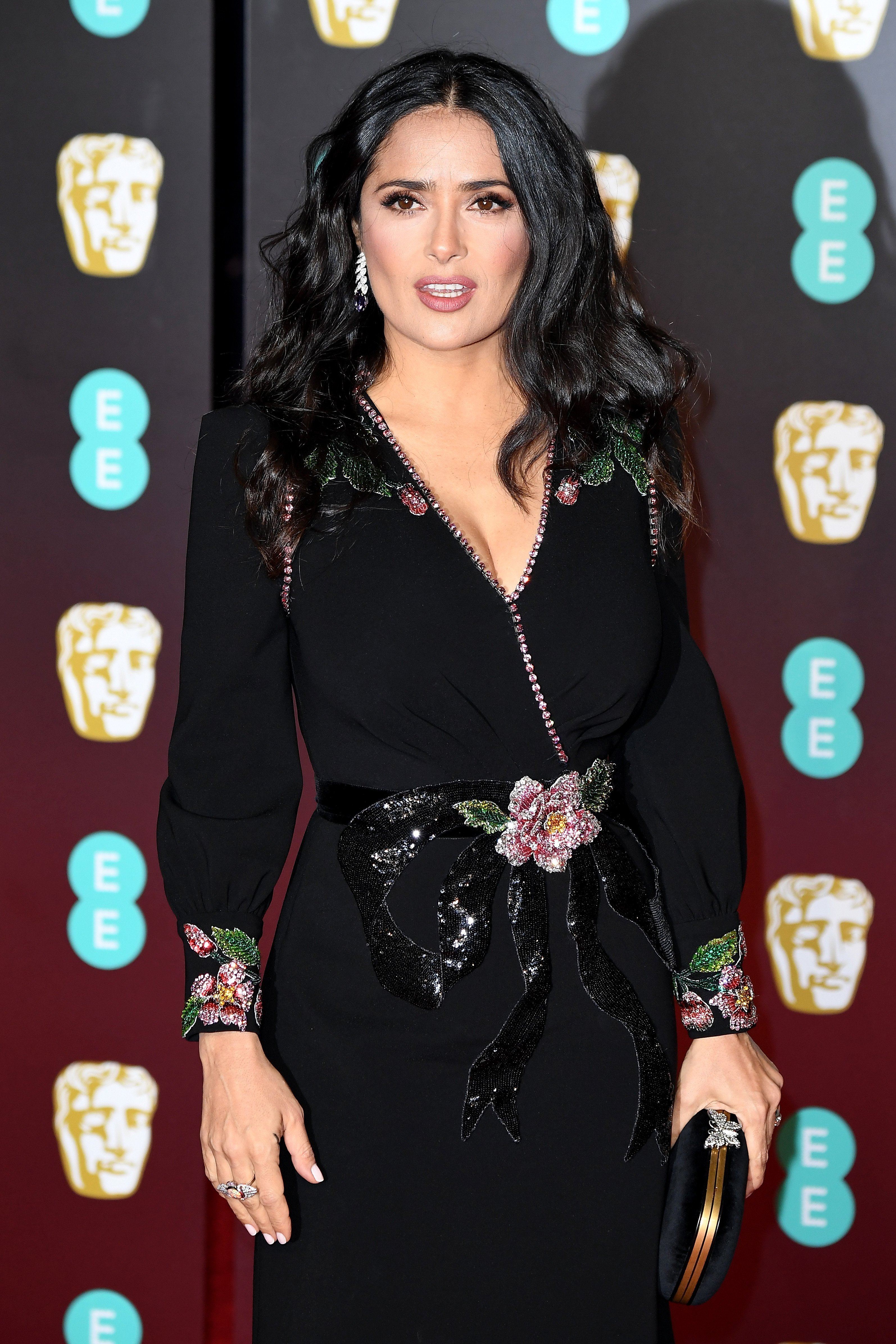 Salma Hayek attends the EE British Academy Film Awards (BAFTA) held at Royal Albert Hall on February 18, 2018, in London, England. | Source: Getty Images.