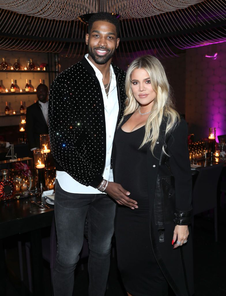 Tristan Thompson and Khloe Kardashian during their baby shower for True | Source: Getty Images/GlobalImagesUkraine