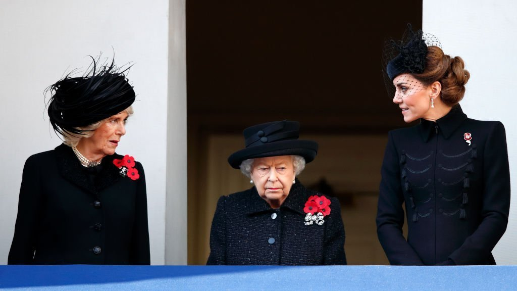 Camilla, Duchess of Cornwall, Queen Elizabeth II and Catherine, Duchess of Cambridge attend the annual Remembrance Sunday service at The Cenotaph. |  Photo: Getty Images