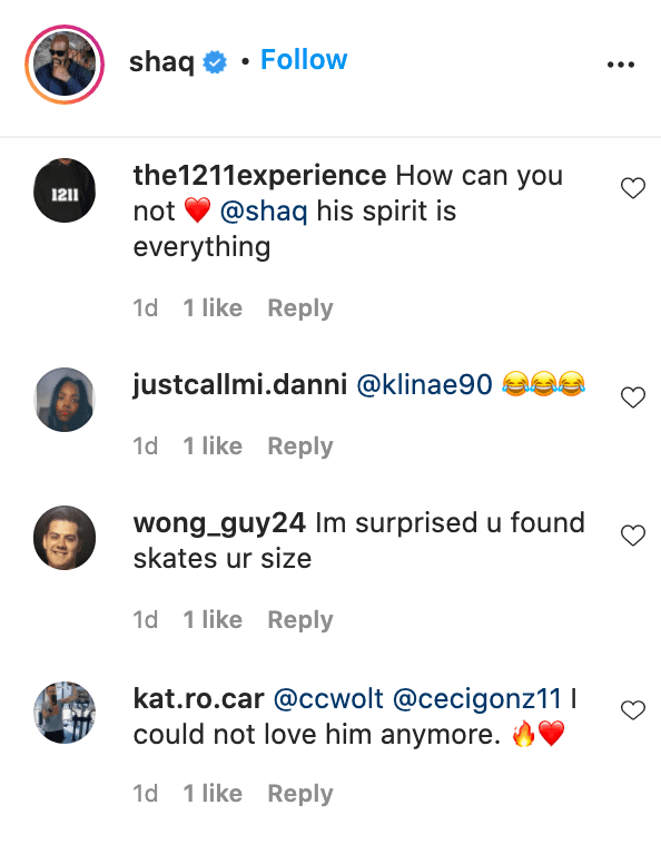 Screenshot of fan comments on Shaquille O'Neal's video. | Source: Instagram/shaq