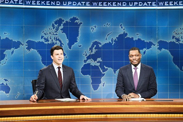 "Colin Jost, Michael Che during ""Weekend Update"" on May 18, 2019 