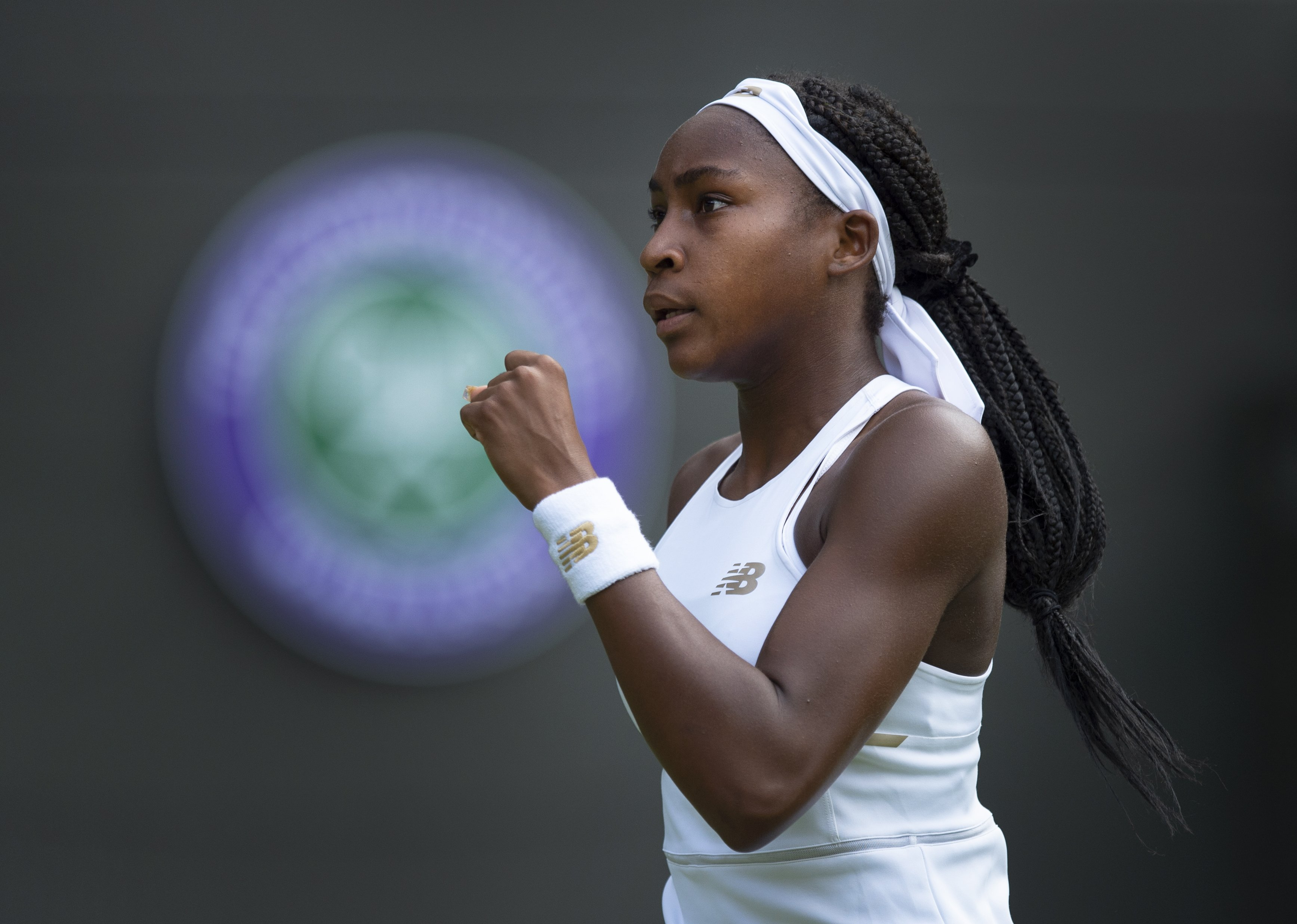 Cori Gauff playing against Venus Williams at Wimbledon 2019 in London, England on July 1, 2019. | Photo: Getty Images