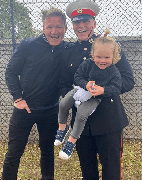 "Chef Gordon Ramsay from ""Hell's Kitchen"" and ""Kitchen Nightmares"" posing with his 20-year-old son Jack and 17-month-old son Oscar 