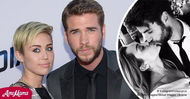 """Miley Cyrus confirma oficialmente su boda con """"beso un millón"""" en vestido color marfil de $8.600"""