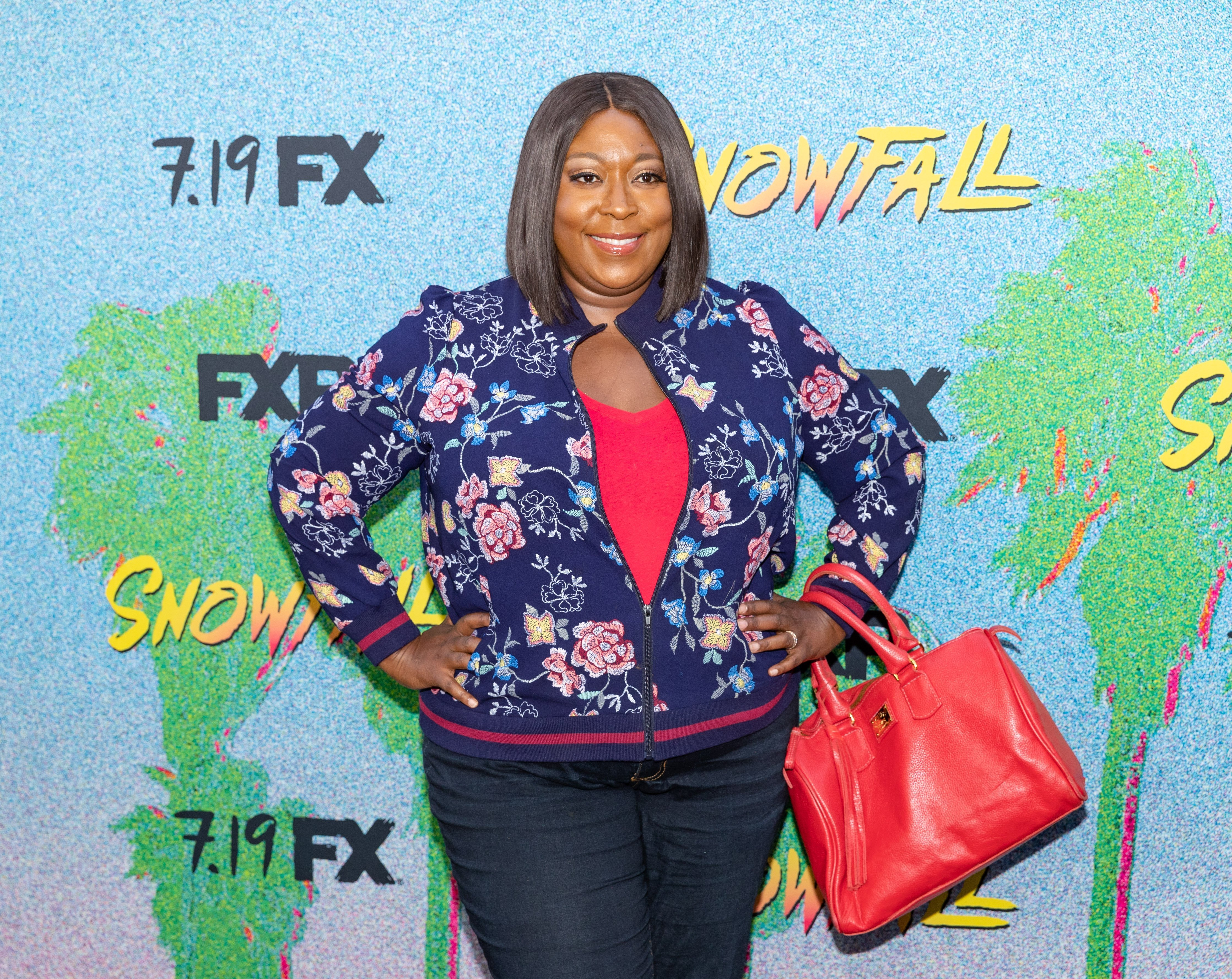 "Loni Love at the premiere of ""Snowfall"" Season 2 in July 2018. 