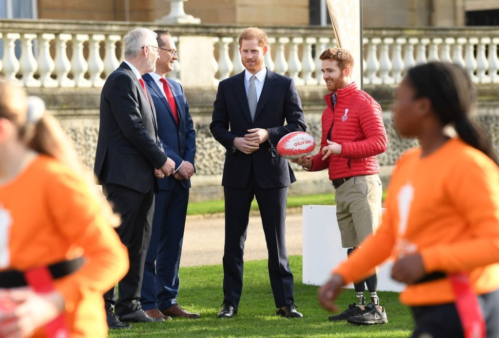 Prince Harry, Duke of Sussex hosts the Rugby League World Cup 2021 draws for the men's, women's and wheelchair tournaments at Buckingham Palace on January 16, 2020. | Photo: Getty Images