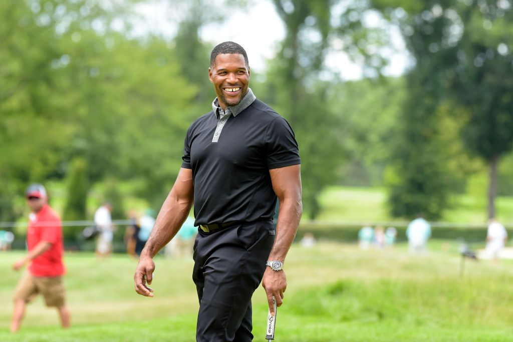 Michael Strahan at the Pro-Am Golf Tour prior to The Northern Trust on August 22, 2018 in Paramus.   Photo: Getty Images