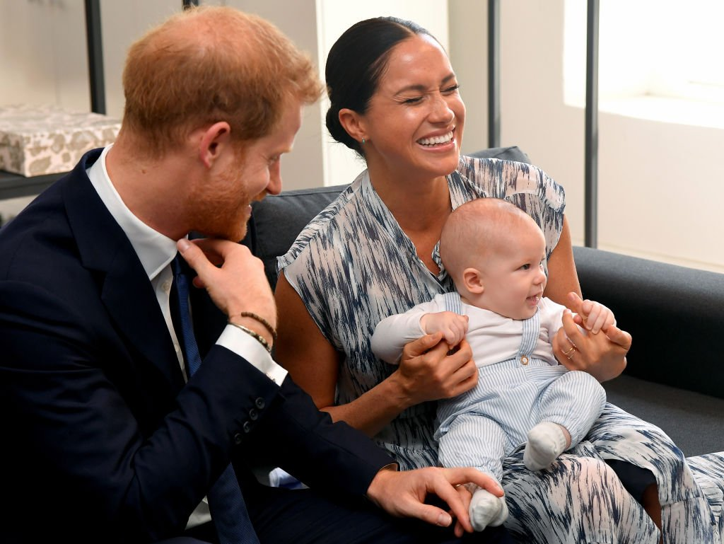 Prince Harry, Duke of Sussex, Meghan, Duchess of Sussex and their baby son Archie Mountbatten-Windsor meet Archbishop Desmond Tutu at the Desmond & Leah Tutu Legacy Foundation during their royal tour of South Africa | Photo: Getty Images