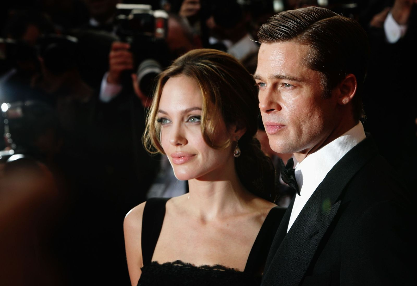 "Angelina Jolie and Brad Pitt at the premiere for the film ""A Mighty Heart"" during the 60th International Cannes Film Festival on May 21, 2007, in France 