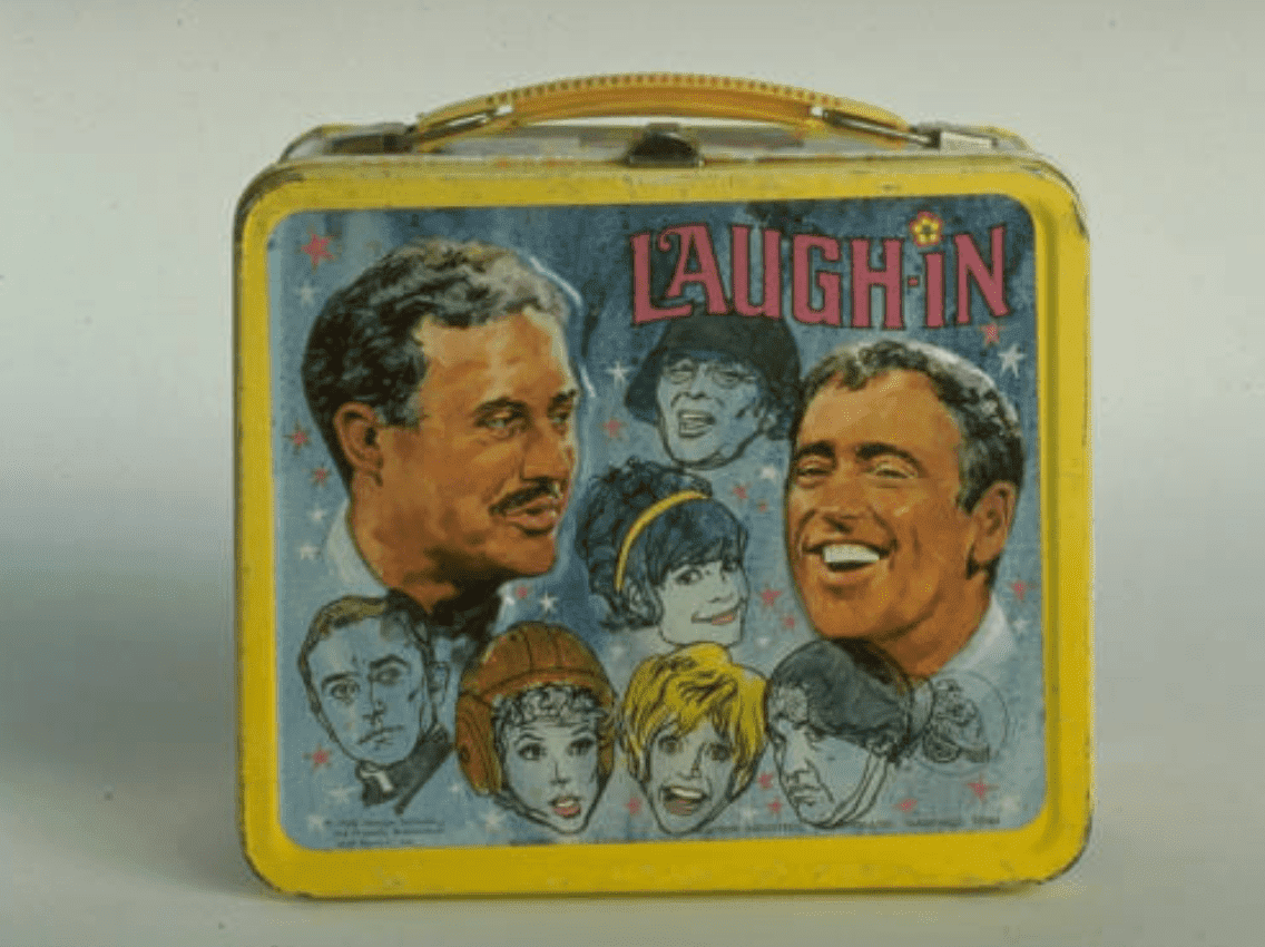 "Child's lunchbox of ""Rowan & Martin's Laugh-In"" tv series  featuring cast members 