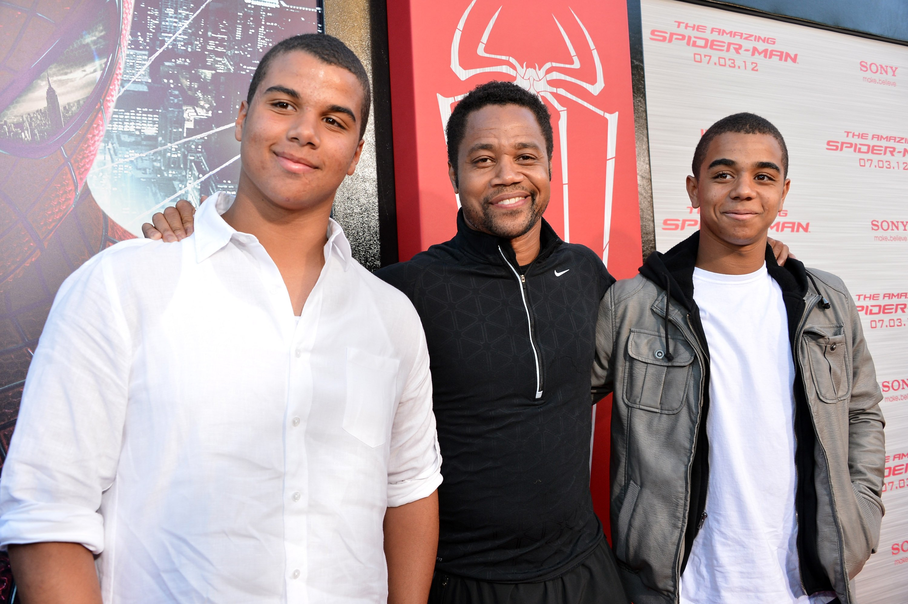 """Mason Gooding, Cuba Gooding Jr., and Spencer Gooding arrive at the premiere of Columbia Pictures' """"The Amazing Spider-Man"""", 2012.   Photo: GettyImages"""