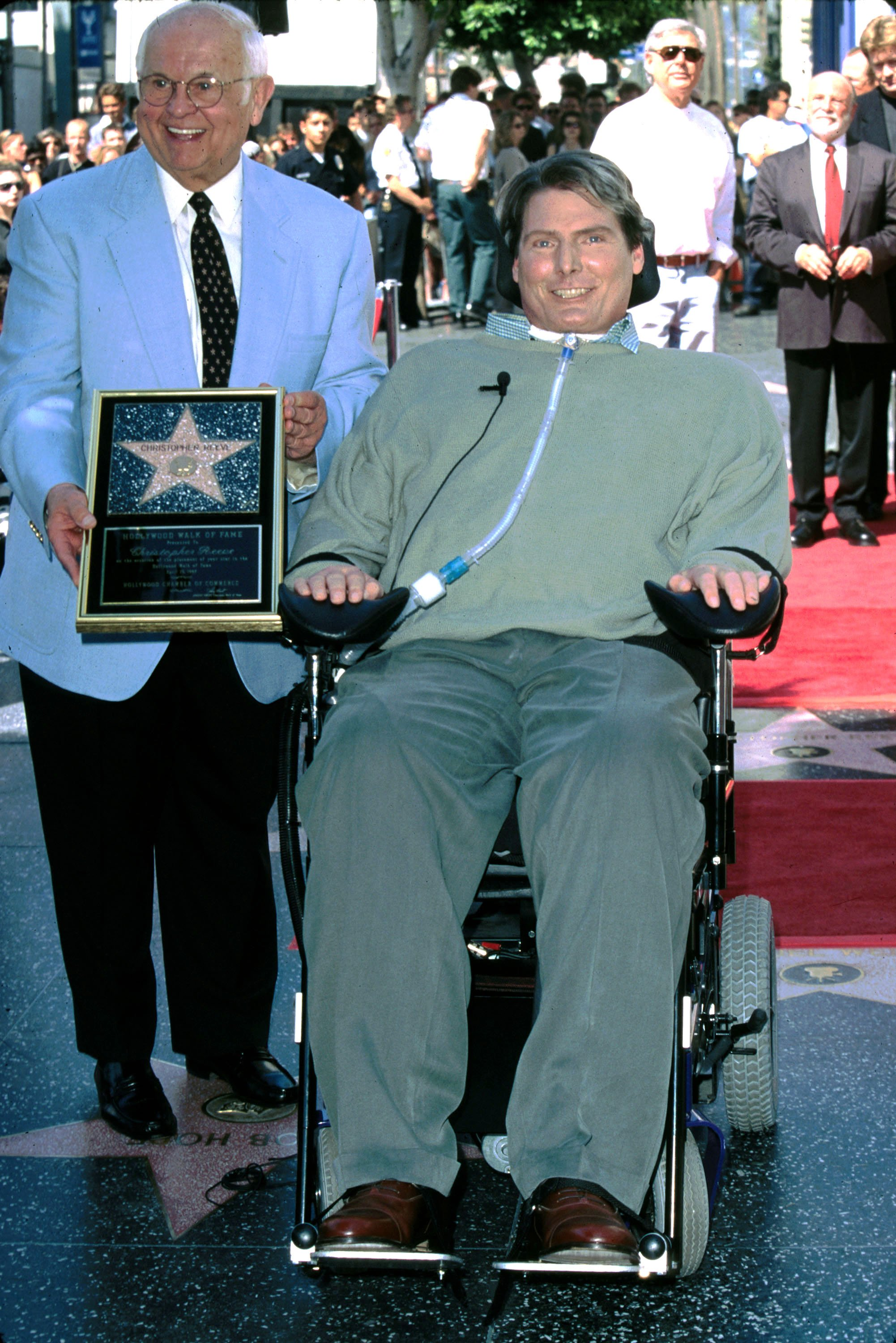 Chris Reeve receiving star on the Hollywood Walk of Fame, 1997   Photo: Getty Images