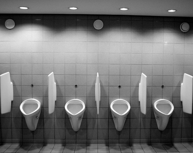 Black and white gents toilets.   Photo: Getty Images