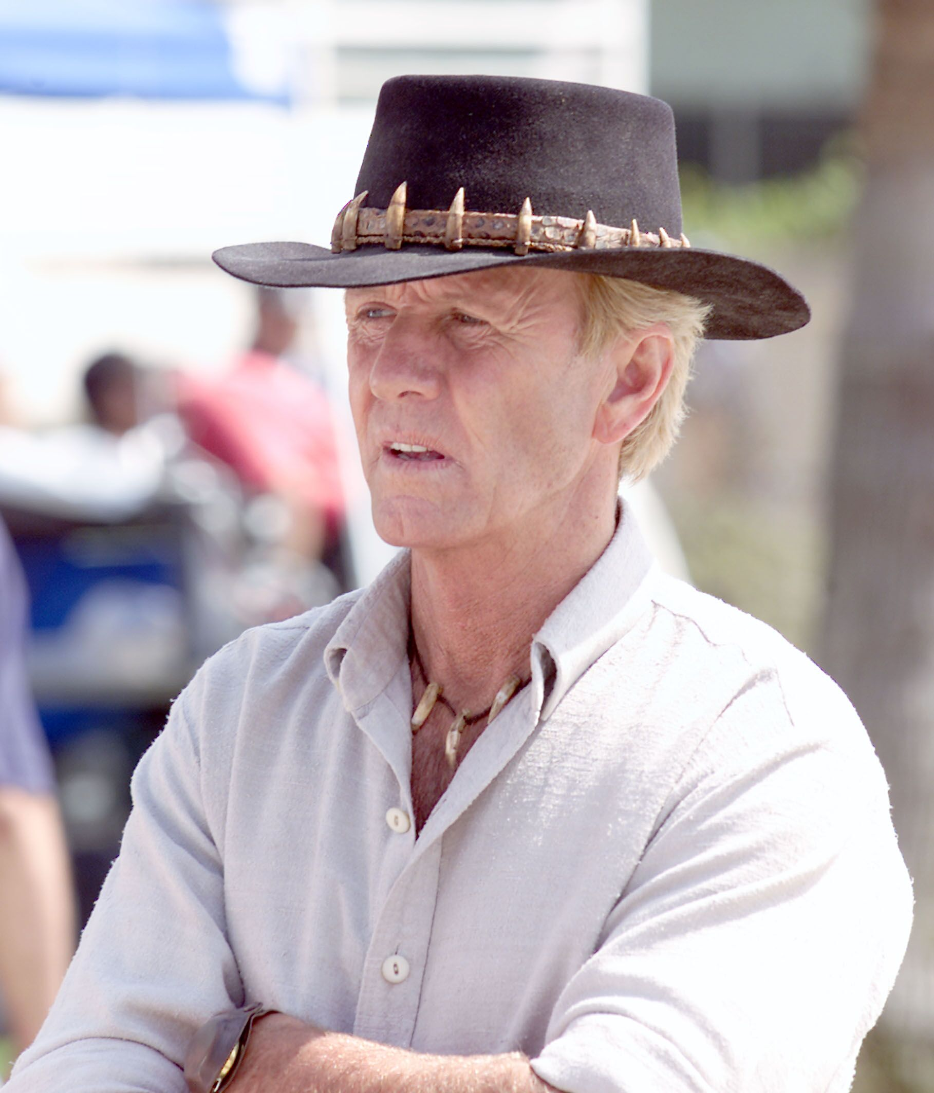 "Paul Hogan films on the set of his new film ""Crocodile Dundee in Los Angeles."" 