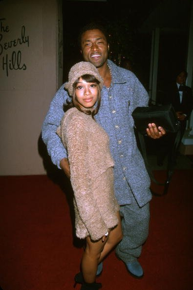 "Lisa ""Left Eye"" Lopes of TLC and Andre Rison at the Arista Records Pre-Grammy Party at the Beverly Hills Hotel, Beverly Hills , CA. 