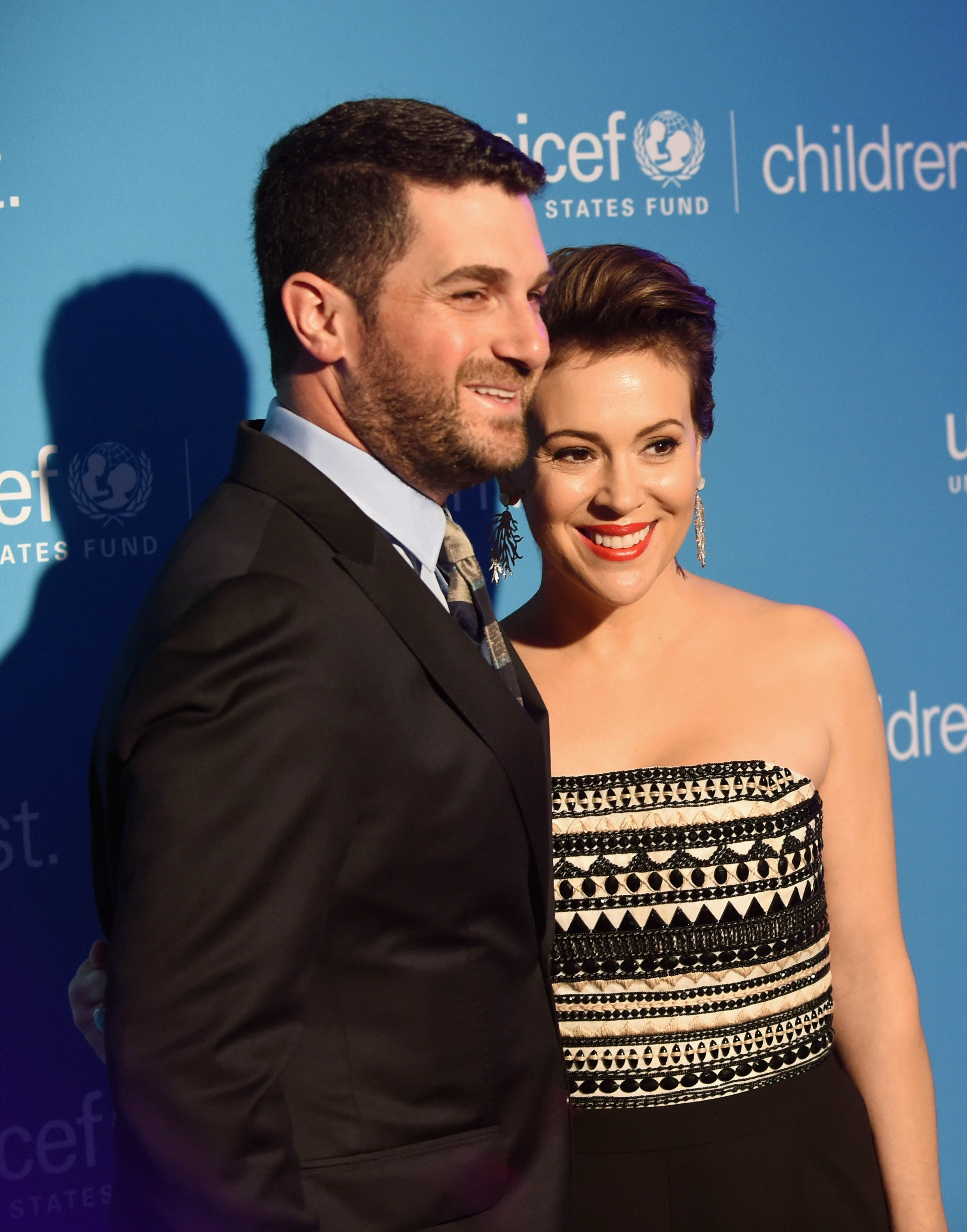 Dave Bugliari and Alyssa Milano at the Children First. An Evening With UNICEF on April 15, 2016   Photo: GettyImages