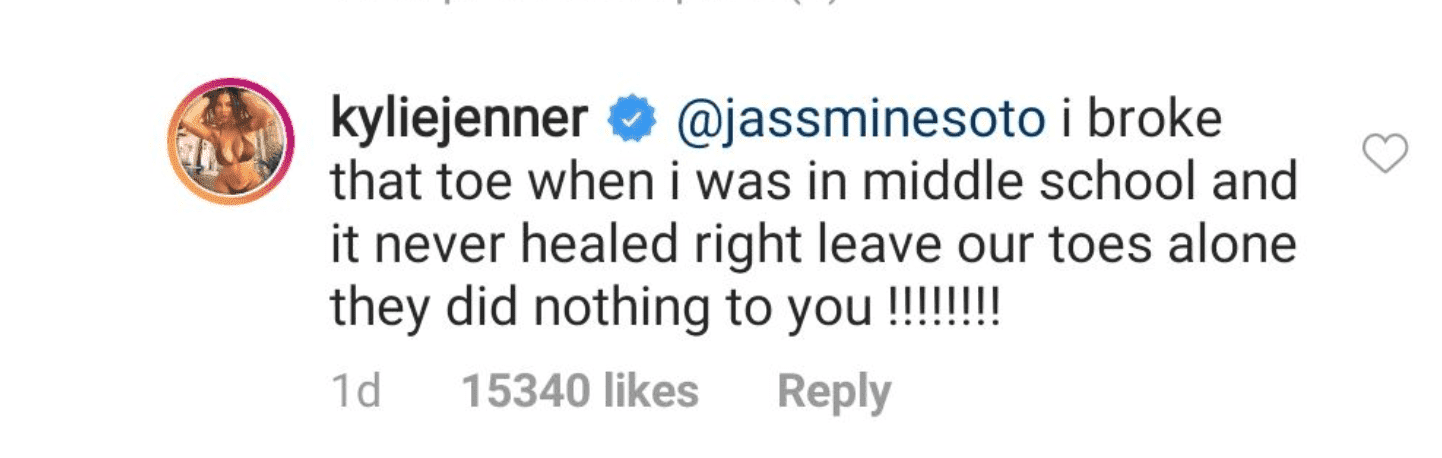 Kylie Jenner's reply to a fan who made fun of her toes. | Source: Instagram/kyliejenner
