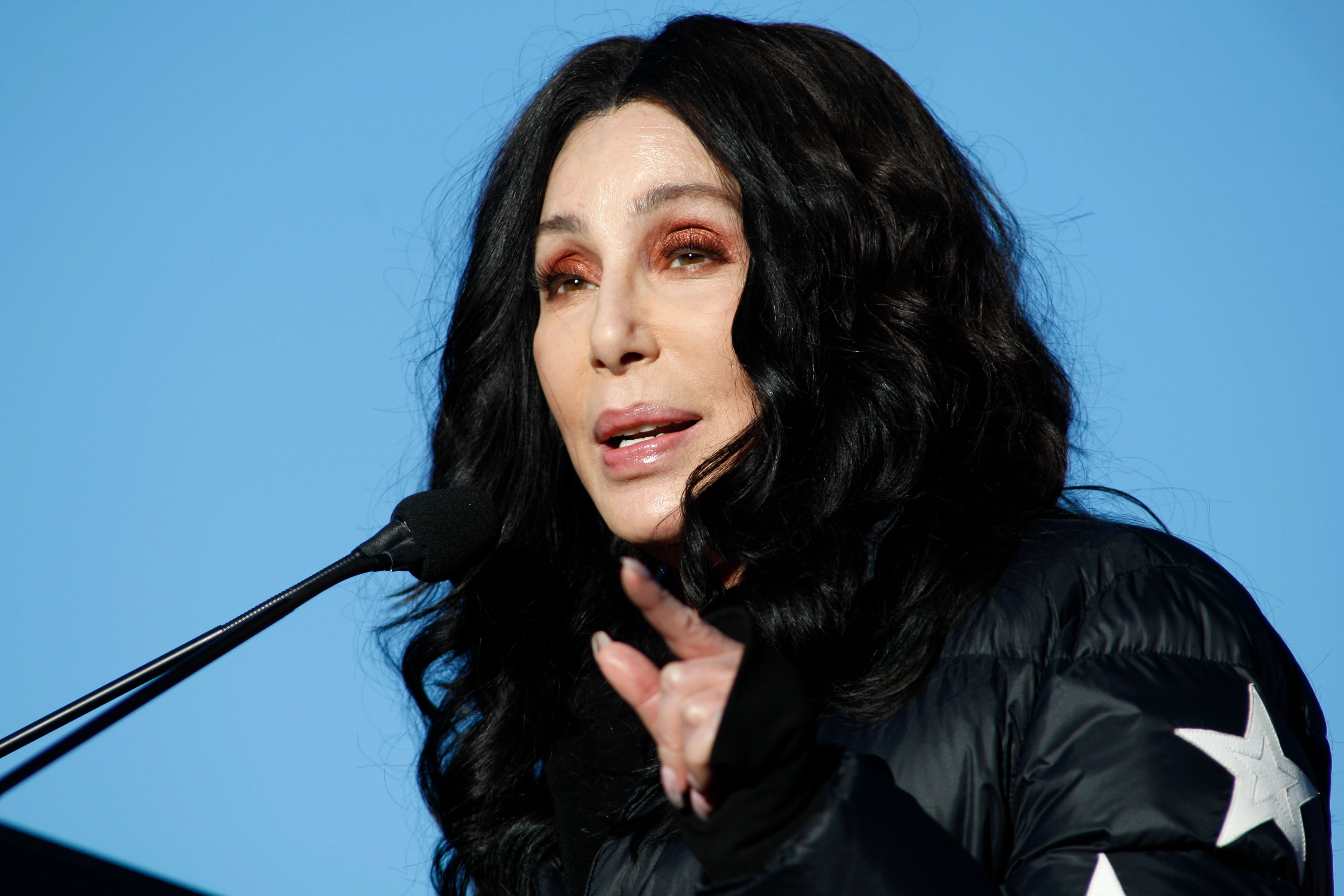 """Singer/Actress Cher speaks at the Women's March """"Power to the Polls"""" voter registration tour launch at Sam Boyd Stadium on January 21, 2018   Photo: Getty Images"""