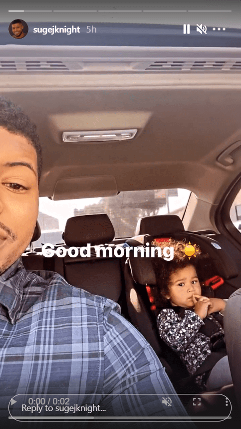 Jacob Knight takes a car selfie with his cute daughter Sunset.   Photo: Instagram/Sugejknight