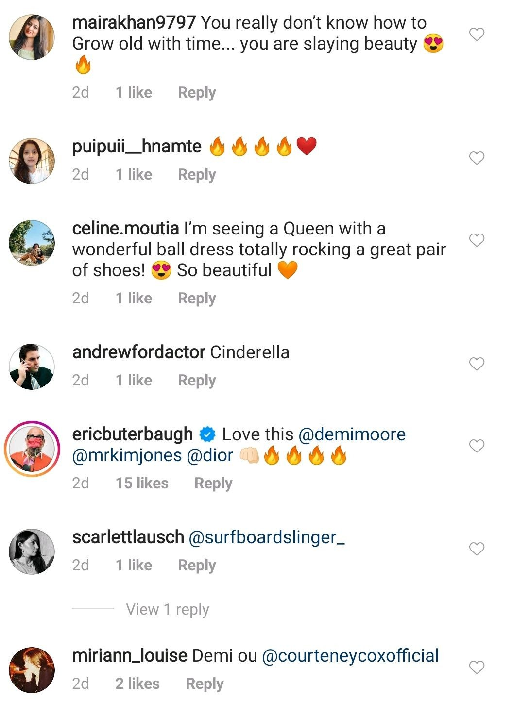 Another screeenshot of comments admiring the stunning actress, Demi Moore on Instagram | Photo: Instagram/demimoore