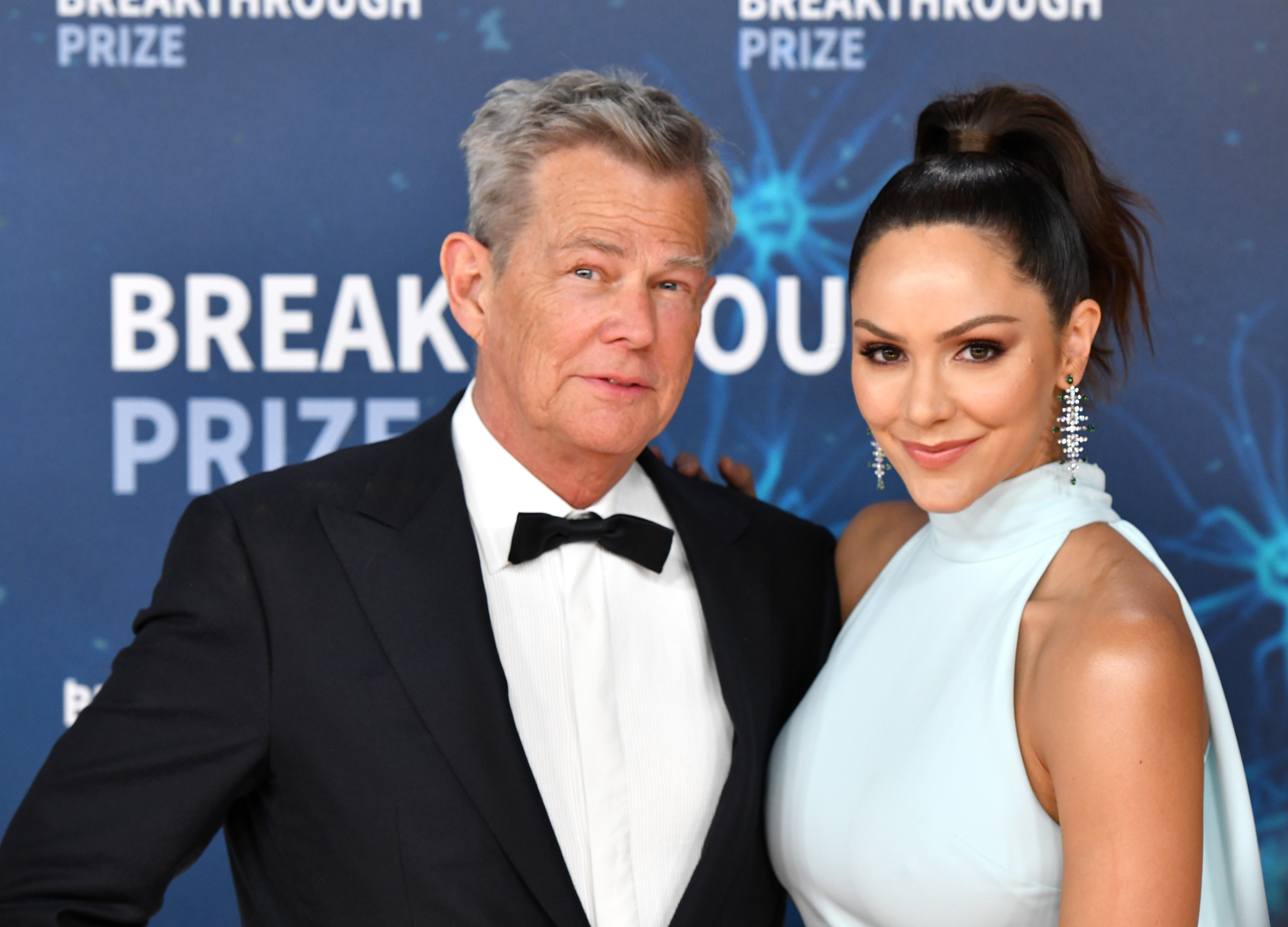 David Foster and Katharine McPhee pictured at the 2020 Breakthrough Prize Red Carpet at NASA Ames Research Center, California. | Photo: Getty Images