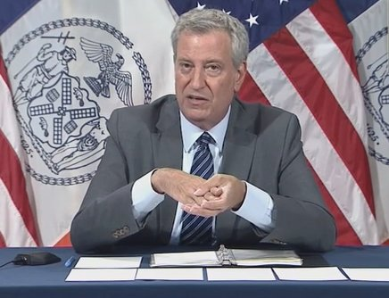 New York City Mayor Bill de Blasio gives a statement at a press conference after the fatal shooting. | Source: YouTube/ ABCNews