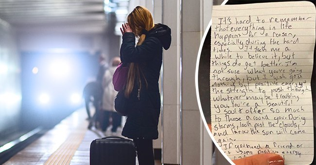 Woman crying on subway platform [left] and individual holding a piece of paper with a written note [right]. │Source: instagram.com/tanksgoodnews Shutterstock