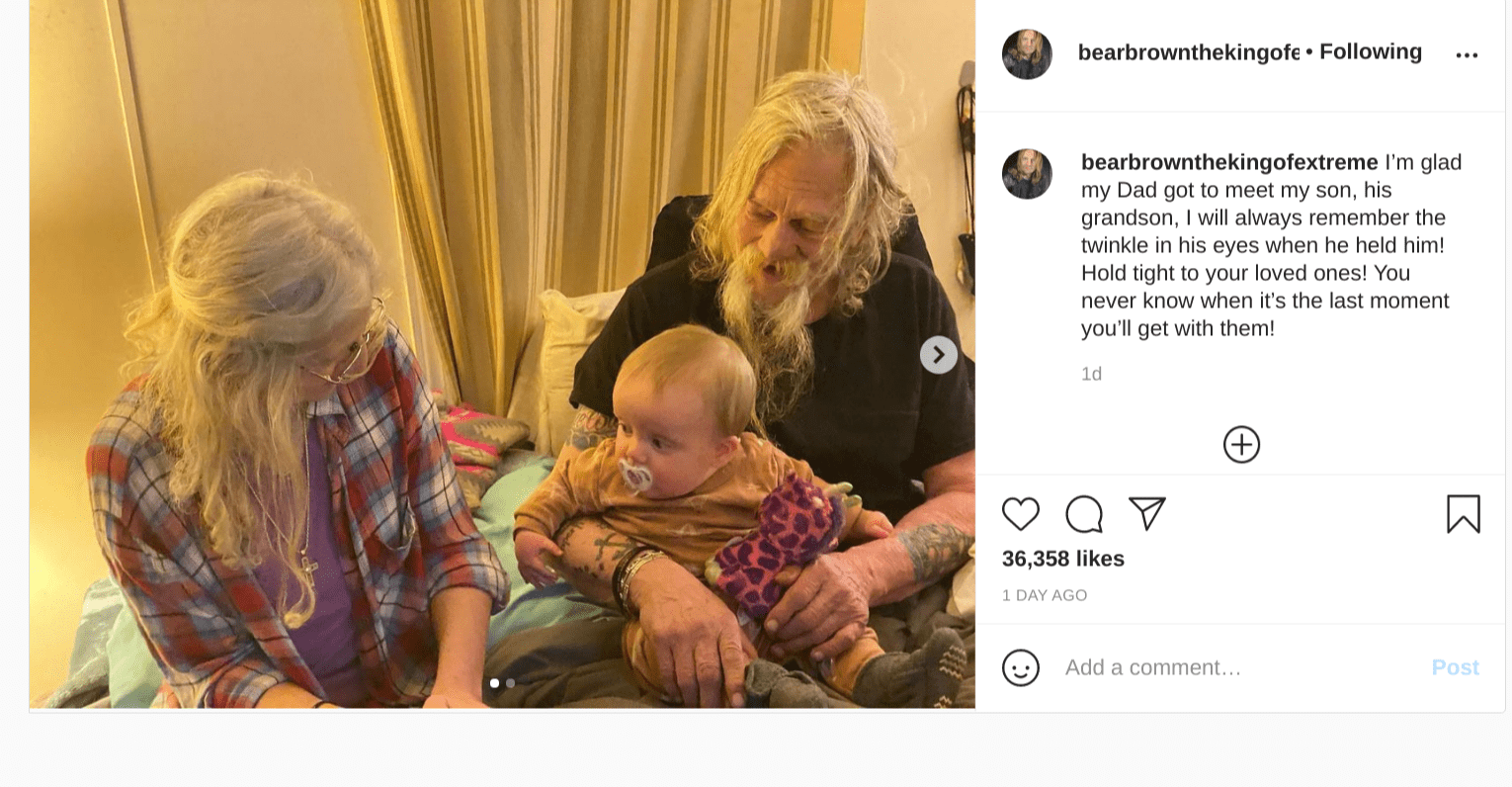 Bear Brown shared a loving tribute for his late dad, 2021. | Photo: Instagram/bearbrownthekingofextreme
