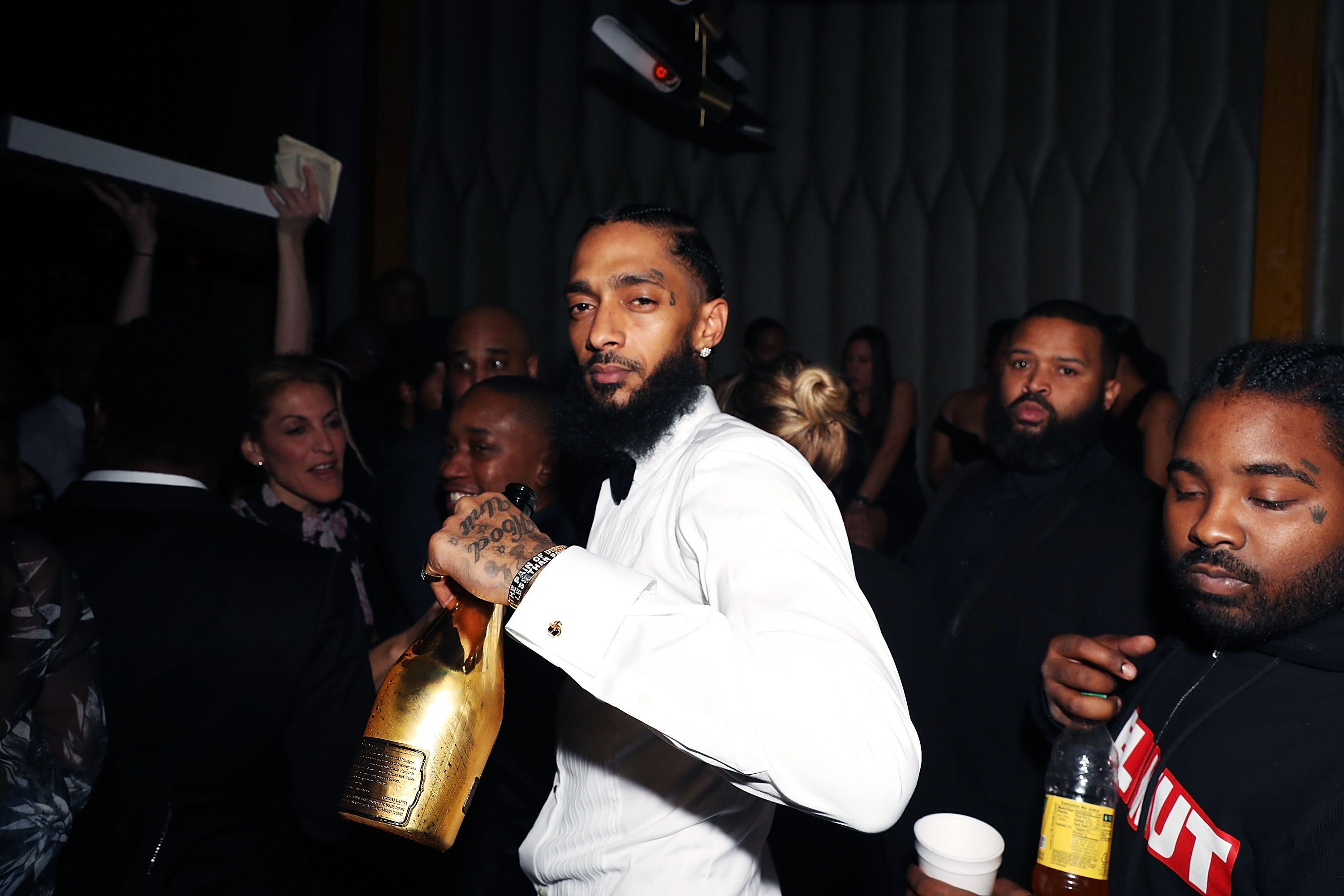 "Nipsey Hussle attends ""Nipsey Hussle Grammy Celebration"" on Feb. 8, 2019 in California 