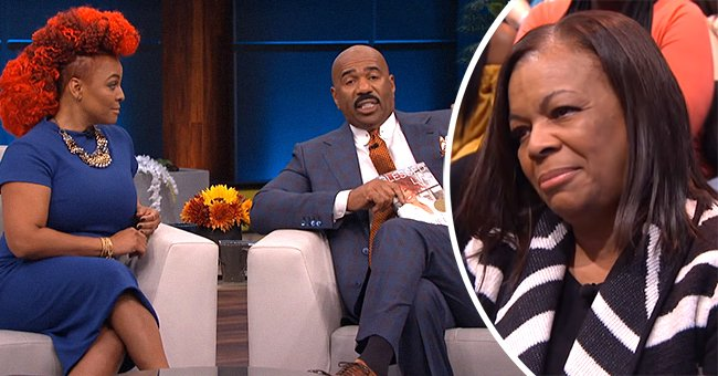 Kim Fields on a show with Steve Harvey with Chip Fields in the audience.   Photo: YouTube/Steve TV Show