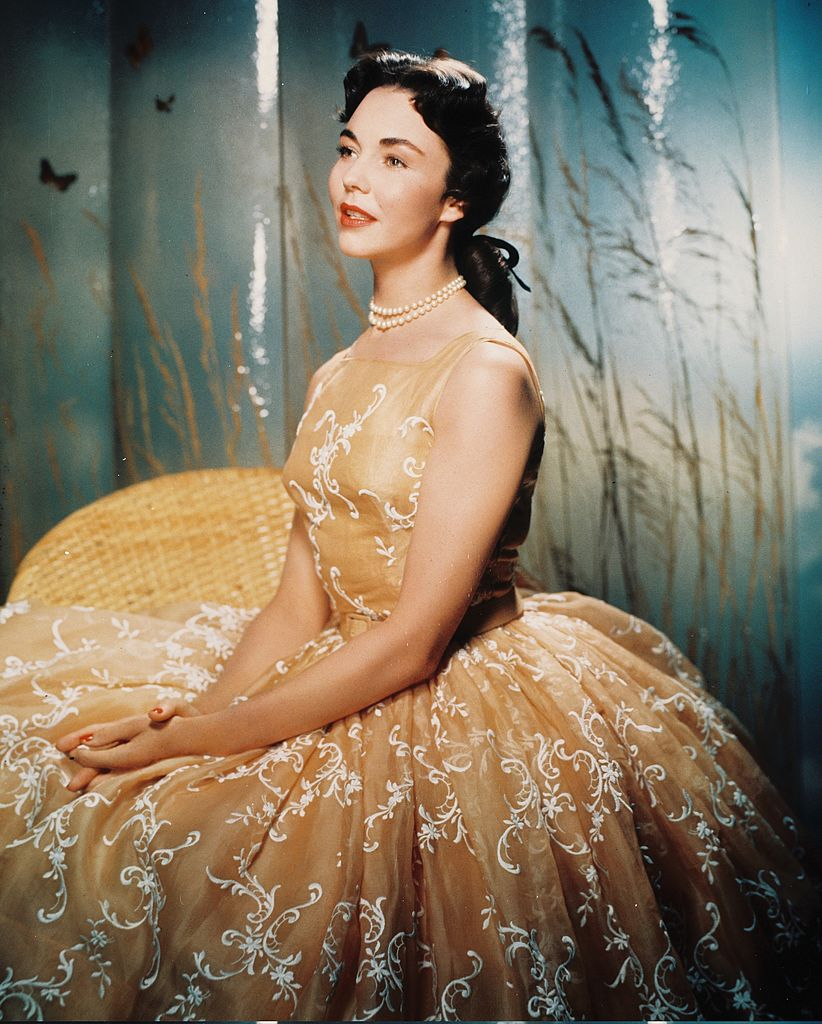 Jennifer Jones (1919-2009), US actress, wearing a silk ballgown with white motifs, and a pearl necklace, in a studio portrait, circa 1945.   Photo: Getty Images