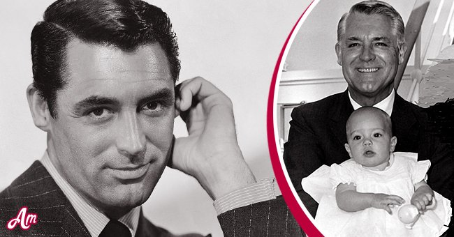 A younger Cary Grant. Inset: Grant holding his daughter Jeniffer | Source: Getty Images