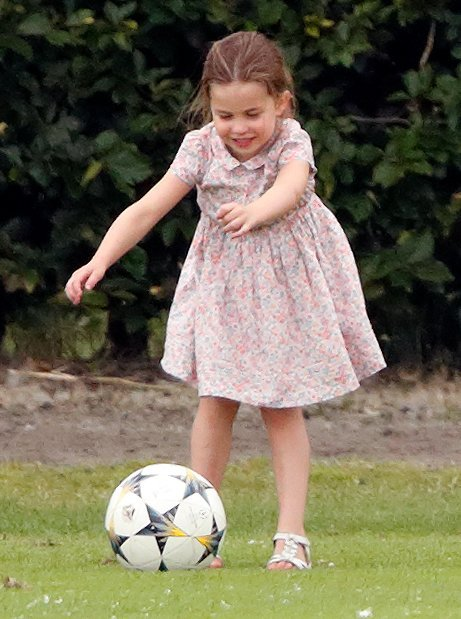 Princess Charlotte playing football at the King Power Royal Charity Polo Match held at Billingbear Polo Club on July 10, 2019 in Wokingham, England | Photo: Getty Images