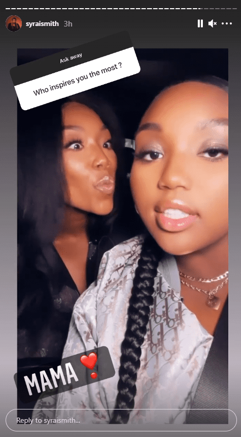 Brandy's daughter Sy'Rai's response to fans during a question and answer session   Photo: Instagram/syraismith