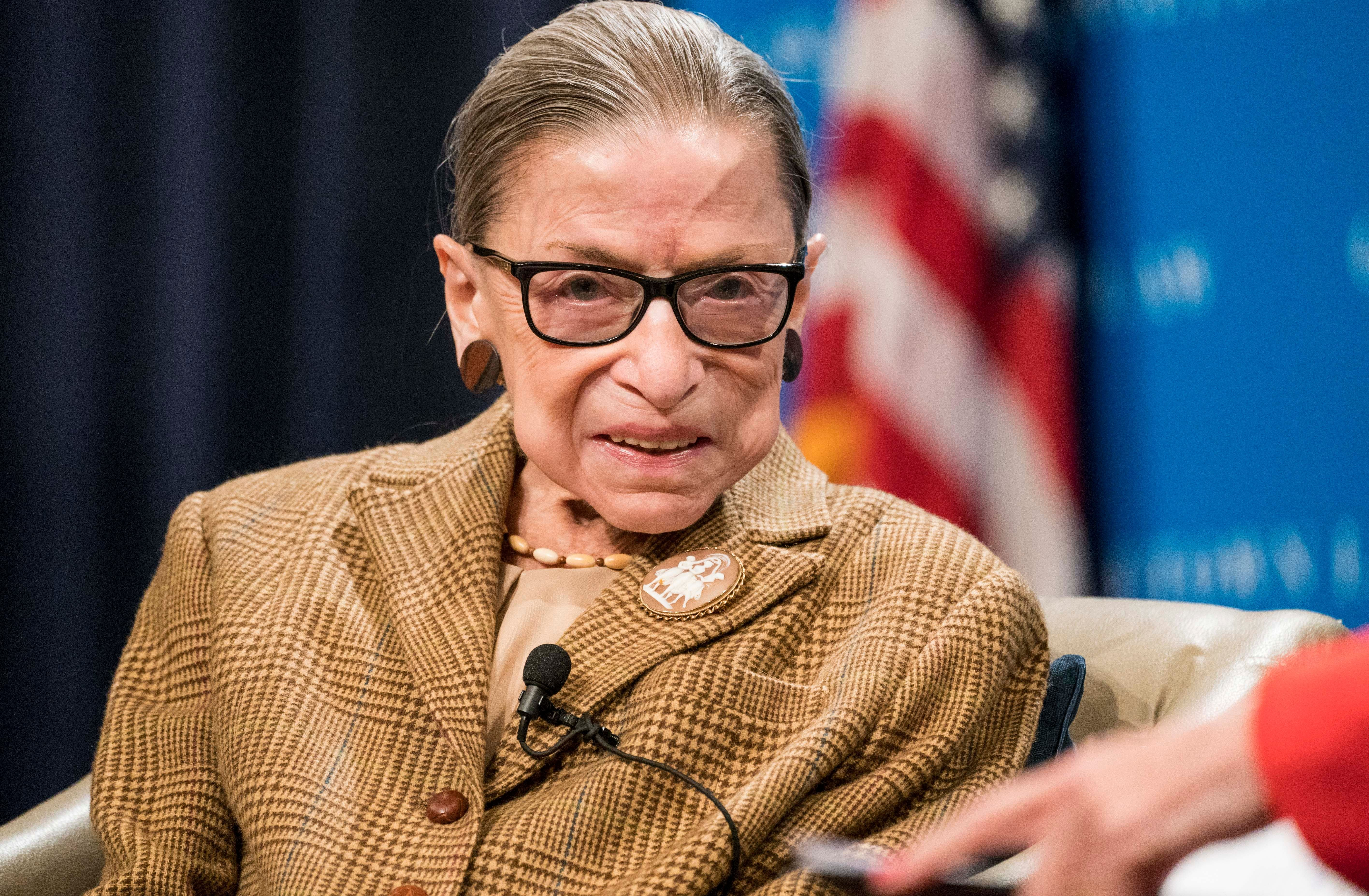Ruth Bader Ginsburg during a discussion at the Georgetown University Law Center on February 10, 2020 in Washington, DC. | Source: Getty Images