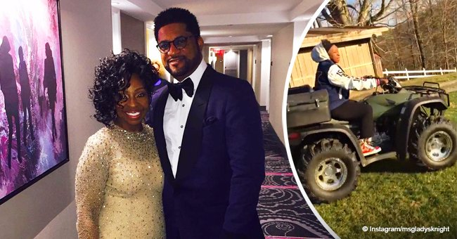 Gladys Knight drives an ATV in loose jacket & tight pants during vacation with her husband