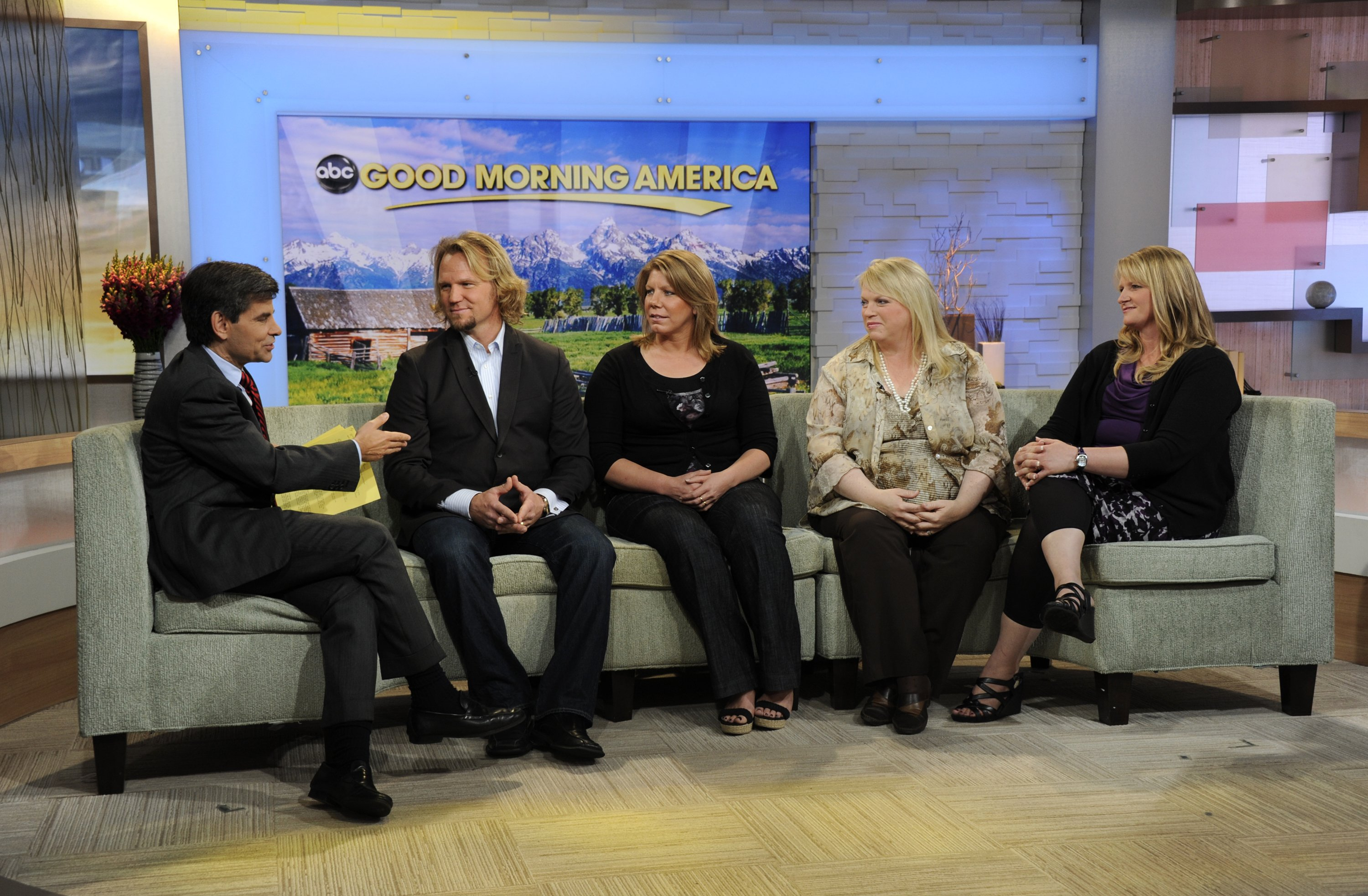 """Kody Brown, joined by three of his four wives Meri, Janelle, and Christine, talks about their show """"Sister Wives,"""" on Good Morning America, September 21, 2011 
