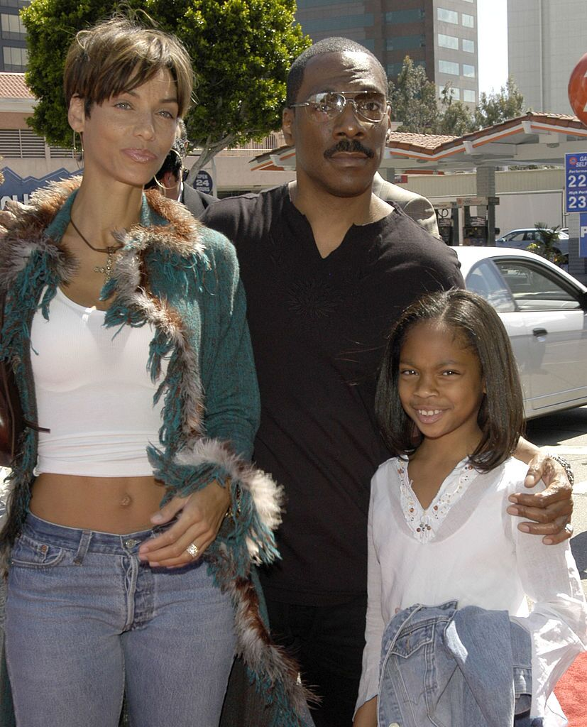 """Eddie Murphy with his wife Nicole Mitchell and daughter Shayne at the premiere of """"Daddy Day Care"""" in 2003 in Los Angeles. 
