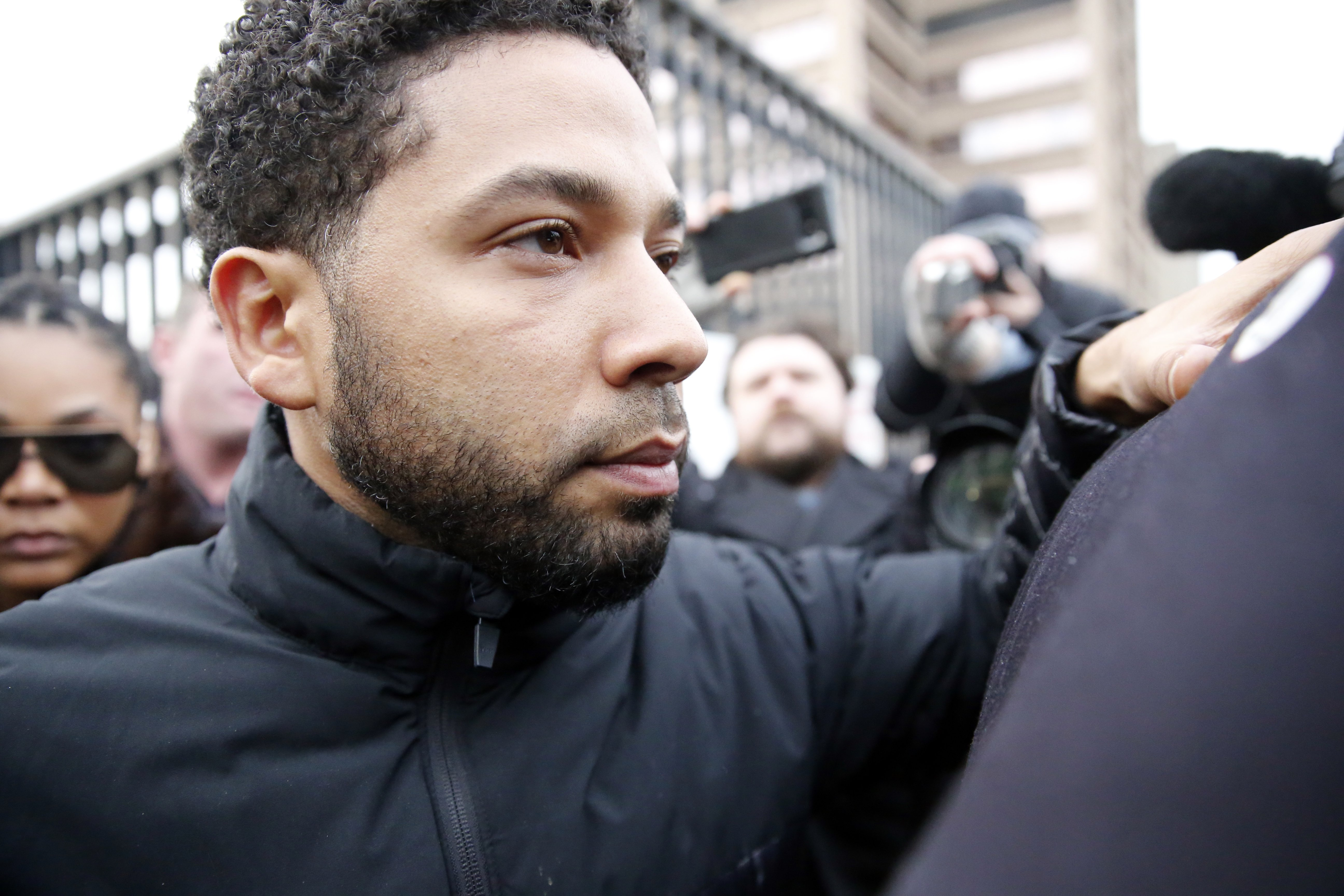 """Empire"" star Jussie Smollett leaving Cook County jail after posting bail in February 2019. 