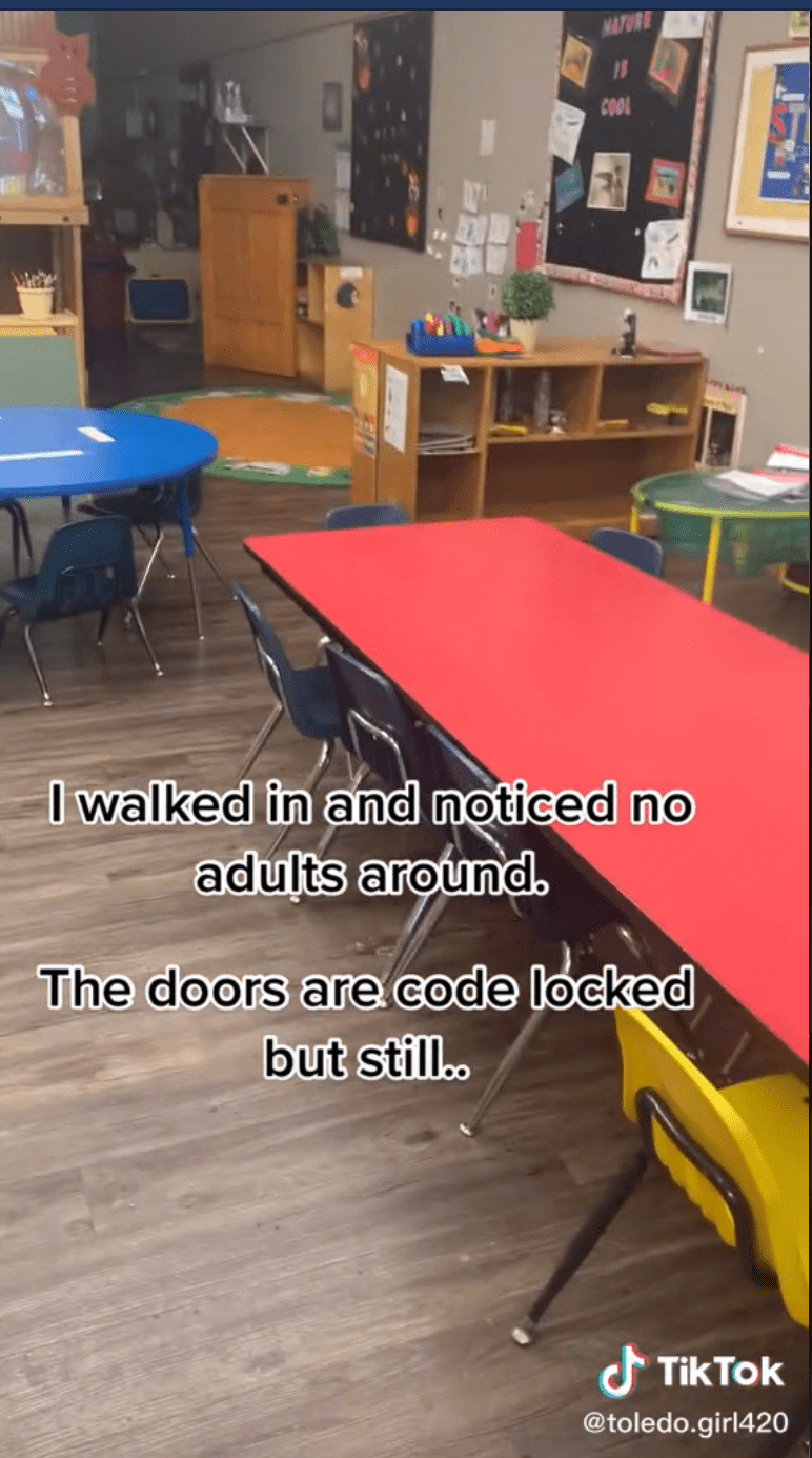 Woman walked in on kids at daycare unattended.   Photo: TikTok/toledo.girl420