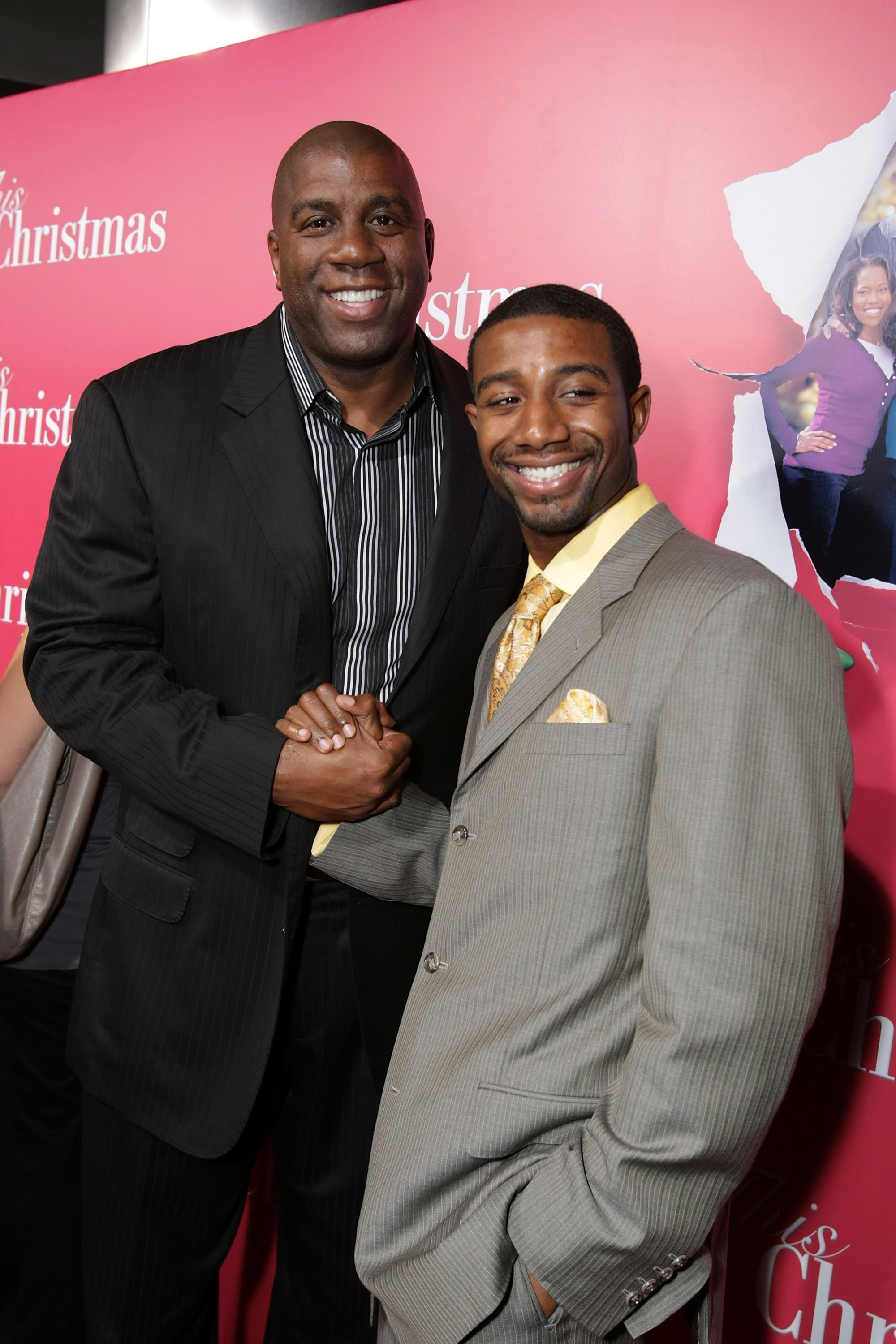 "Earvin ""Magic"" Johnson and son Andre Johnson at the ""This Christmas"" premiere at the Cinerama Dome on November 12, 2007 