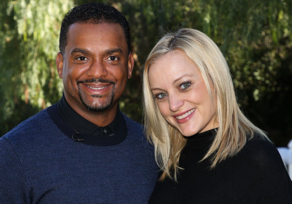 "Actor Alfonso Ribeiro (L) and his Wife Angela Unkrich (R) visit Hallmark's ""Home & Family"" at Universal Studios Hollywood in Universal City, California. 